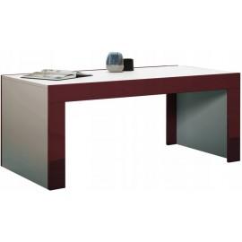 Table basse  blanche et bordure bordeaux 120  cm