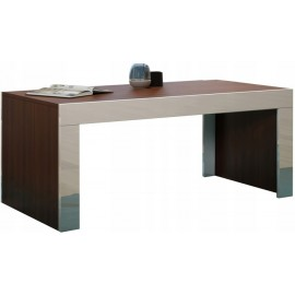 Table basse 120 x 60 en noyer mat + blanc brillant