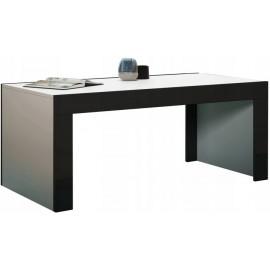 Table basse 120 x 60 blanc mat + noir brillant