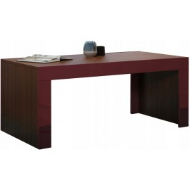 Table basse 120 x 60 en noyer mat + bordeaux brillant