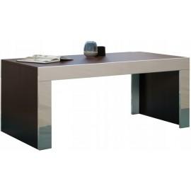 Table basse 120 x 60 wengé + blanc brillant