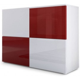 Meuble blanc mat et façades blanc et bordeaux  laquées H 72 x L 92 x P 35