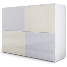 Meuble blanc mat et façades blanc et crème  laquées H 72 x L 92 x P 35