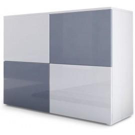 Meuble blanc mat et façades blanc et gris  laquées H 72 x L 92 x P 35