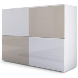 Meuble blanc mat et façades blanc et gris sable  laquées H 72 x L 92 x P 35
