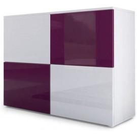 Meuble blanc mat et façades blanc et mûre laquées H 72 x L 92 x P 35
