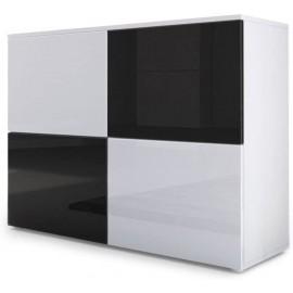 Meuble blanc mat et façades blanc et noir  laquées H 72 x L 92 x P 35
