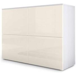 Meuble blanc mat et façades  crème  laquées H 72 x L 92 x P 35