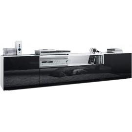 Meuble tv Corps en Blanc Mat/Façades en noir (HxLxP): 39 x 181 x 35