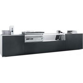 Meuble tv  Blanc Matet façades noir mat  (HxLxP): 39 x 181 x 35