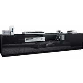 Meuble tv Corps en Noir Mat/Façades en noir  (HxLxP): 39 x 181 x 35