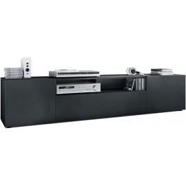 Meuble tv Corps en Noir Mat/Façades en noir mat  (HxLxP): 39 x 181 x 35