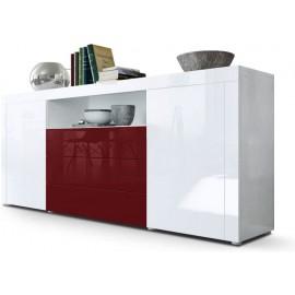 Buffet blanc  / bordeaux brillant  (HxLxP) : 72 x 167 x 35cm