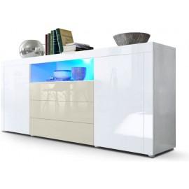 Buffet blanc / crème brillant  (HxLxP) : 72 x 167 x 35cm avec l'éclairage LED