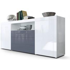 Buffet blanc  / gris brillant  (HxLxP) : 72 x 167 x 35cm