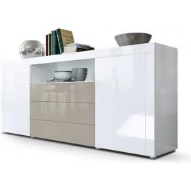 Buffet blanc  / gris sable brillant  (HxLxP) : 72 x 167 x 35cm