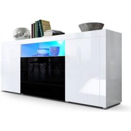 Buffet blanc / noir brillant  (HxLxP) : 72 x 167 x 35cm avec l'éclairage LED