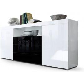 Buffet blanc  / noir brillant  (HxLxP) : 72 x 167 x 35cm