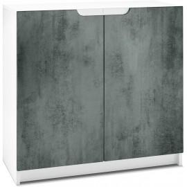 Armoire de Bureau  Blanc Mat/ en Aspect Béton foncé (HxLxP): 78 x 82 x 37