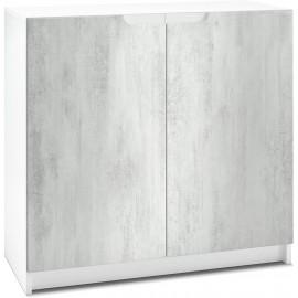 Armoire de Bureau  Blanc Mat/ en Aspect Béton (HxLxP): 78 x 82 x 37