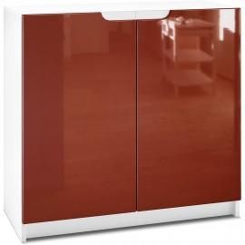 Armoire de Bureau  blanc mat/ bordeaux haute brillance (HxLxP): 78 x 82 x 37