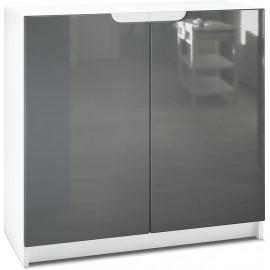 Armoire de Bureau  blanc mat/ gris haute brillance (HxLxP): 78 x 82 x 37