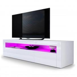 Meuble tv blanc mat façade laquée + led