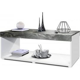 Table basse blanche/aspect marbre (LxHxP): 104 x 40,5 x 58