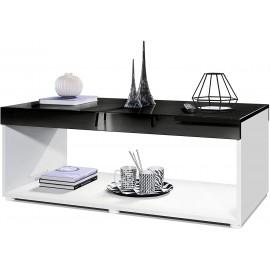 Table basse blanche/ noir (LxHxP): 104 x 40,5 x 58