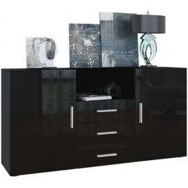 Bahut noir  mat et  façade brillante 139 cm