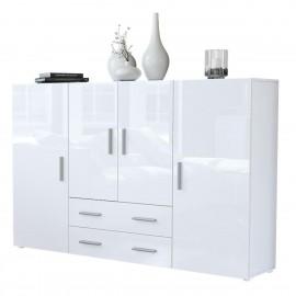 Bahut  blanc mat et façades brilantes (LxHxP): 166 x 106 x 35
