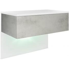 Chevet blanc mat/ béton oxyde + LED