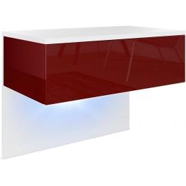 Chevet  blanc mat/ bordeaux haute brillance + LED