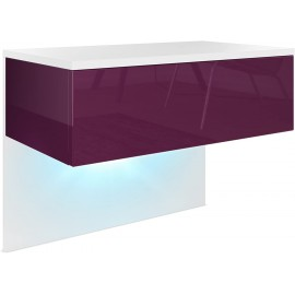Chevet   blanc mat/ mûre haute brillance + LED
