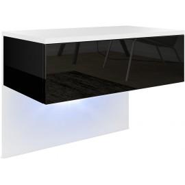 Chevet   blanc mat/noir haute brillance  +  LED