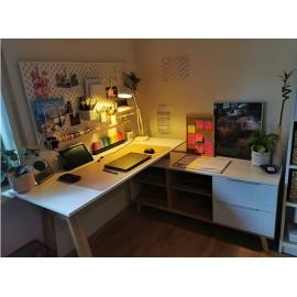 Bureau blanc /  chêne  138 x 77 x 60 cm ( LxHxP)