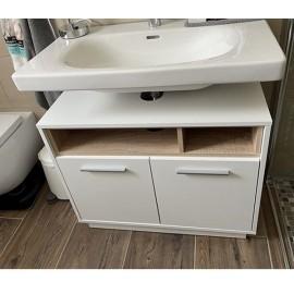 Meuble sous-vasque couleur chêne et blanc 80 x 64 x 40 cm (lxhxp)