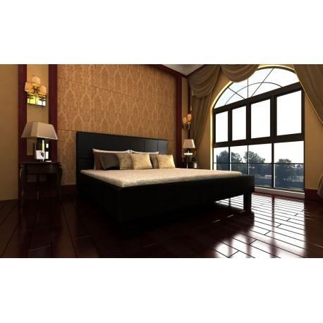 Grand lit recouvert de cuir 140 x 200 cm avec sommier