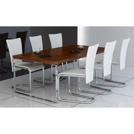 Ensemble de 6 chaises en simili cuir blanc