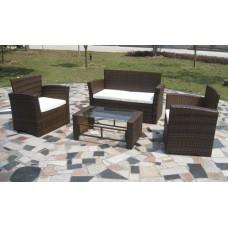 Ensemble de canapés et table basse en résine tressée marron