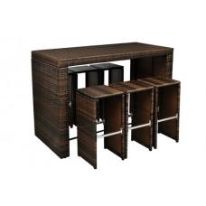 Bar de jardin en rotin table haute avec 6 tabourets
