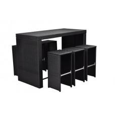 Bar de jardin en poly rotin noir  table haute avec 6 tabourets