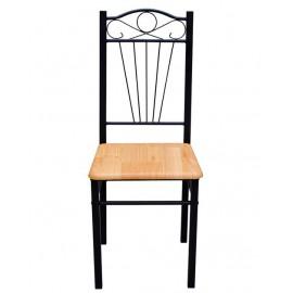 Ensemble de 2 chaises en bois naturel et métal