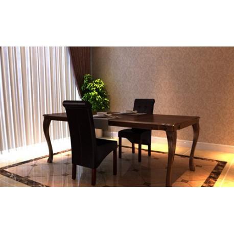 Ensemble de 2 chaises en simili cuir brun capitonnées