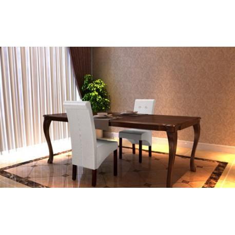 Ensemble de 2 chaises en simili cuir blanc capitonné