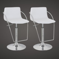 Ensemble de 2 tabourets de bar design blancs