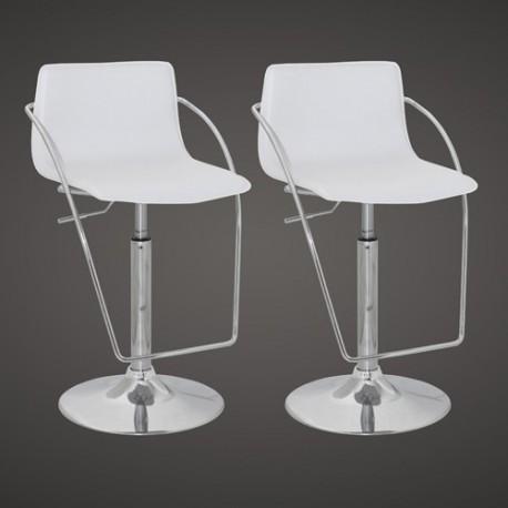 Ensemble de 2 tabourets de bar design blancs