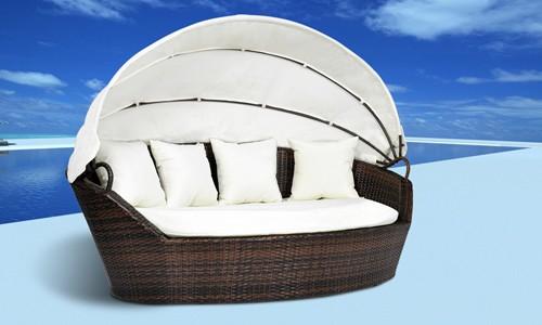 Canape de jardin en resine tressee chocolat for Tapis d entrée avec canapé 2 places résine tressée pas cher