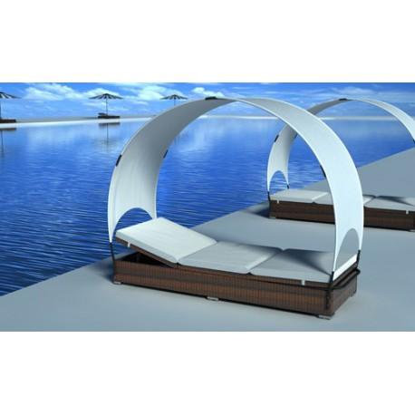 lit de jardin en rsine tresse chocolat avec parasol - Lit De Jardin