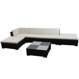 Canapé de jardin en résine tressée noir 5 blocs modulables